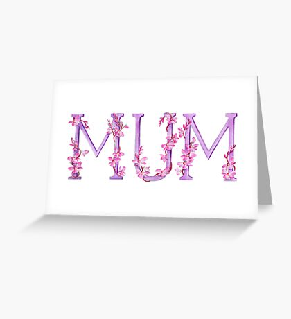 Mum pink orchid text watercolor art Greeting Card