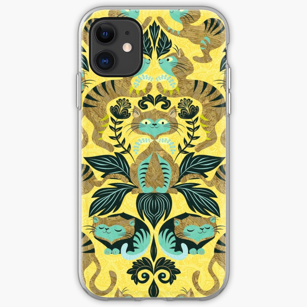 yellow damask cats iPhone Soft Case