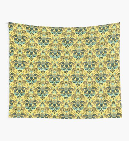 yellow damask cats Wall Tapestry