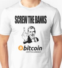 Screw The Banks Use Bitcoin Slim Fit T-Shirt