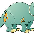 Aqua Stegosaurus Cartoon by Graphxpro