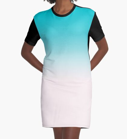Ombre in Blue Graphic T-Shirt Dress