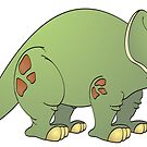 Green Triceratops Cartoon by Graphxpro