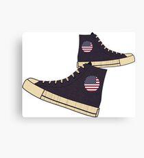 Vintage American Flag Freedom Tennis Shoes Canvas Print