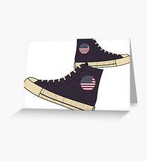 Vintage American Flag Freedom Tennis Shoes Greeting Card