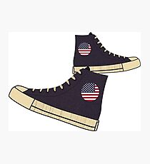 Vintage American Flag Freedom Tennis Shoes Photographic Print