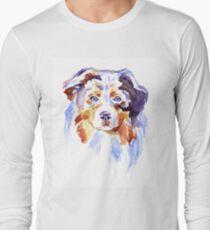Watercolor Australian shepherd Long Sleeve T-Shirt