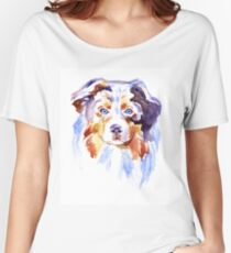 Watercolor Australian shepherd Women's Relaxed Fit T-Shirt