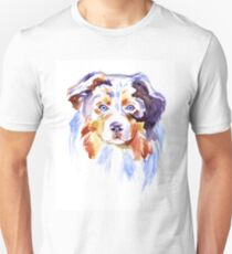 Watercolor Australian shepherd Unisex T-Shirt