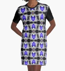 Blue Gentian Flower Abstract Art Graphic T-Shirt Dress