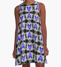 Blue Gentian Flower Abstract Art A-Line Dress