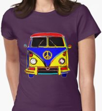 Peace Bus - Red, Yellow, and Blue Womens Fitted T-Shirt