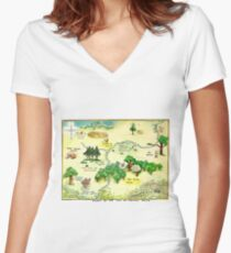 100 Aker Wood Winnie the Pooh By AA Milne Women's Fitted V-Neck T-Shirt