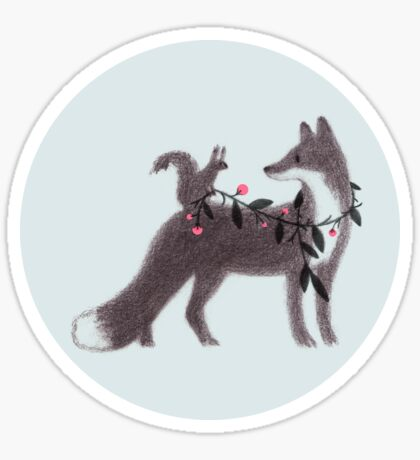 Squirrel and Fox Sticker