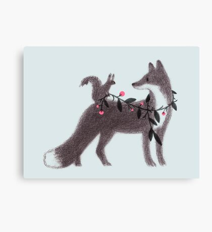 Squirrel and Fox Canvas Print