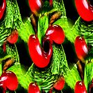 Red Berries Green Leaves Abstract Nature Art by SmilinEyes