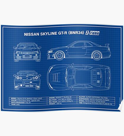 Blueprint - Nissan Skyline GT-R (R34) Z-Tune (Blue) Poster