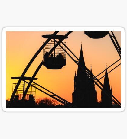 Ferris Wheel at Sunset Sticker