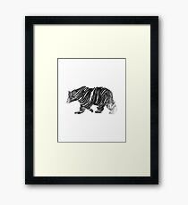 Yogi Bear, Black and White, Digital Drawing, 2017, Abstarct artwork Framed Print