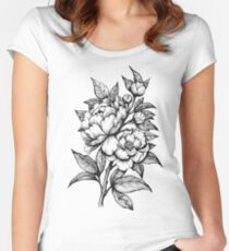 PEONIES - Lineart Women's Fitted Scoop T-Shirt