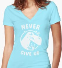 """T Rex says """"Never Give Up!"""" Women's Fitted V-Neck T-Shirt"""