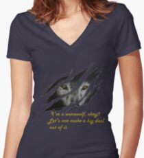 I am a werewolf okay? Women's Fitted V-Neck T-Shirt