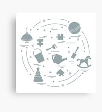Vector illustration kids elements arranged in a circle: whirligig, ball, puzzle, rocking horse,  bucket, pyramid and other. Canvas Print
