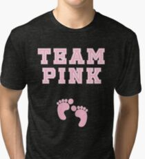 Team Pink Girl Mom Baby Shower Gender Reveal Party Cute Funny Gift Tri-blend T-Shirt