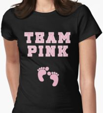 Team Pink Girl Mom Baby Shower Gender Reveal Party Cute Funny Gift Women's Fitted T-Shirt