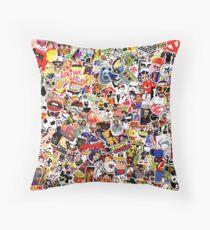 Pop Art Sticker Graffiti   Throw Pillow