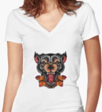 NEW TRADITIONAL WOLF TATTOO Women's Fitted V-Neck T-Shirt