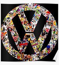 Volkswagen Logo in Sticker Graffiti VW  Poster