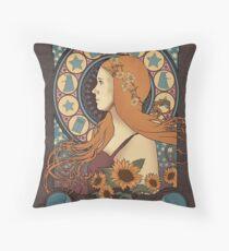 Amy Pond art nouveau Throw Pillow