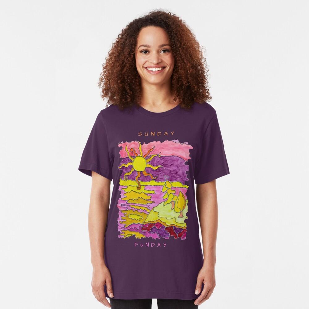 OCEAN ART SUNSET FUNNY SUNDAY FUNDAY  Slim Fit T-Shirt