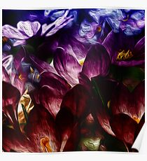 Dark Abstract Flowers Poster