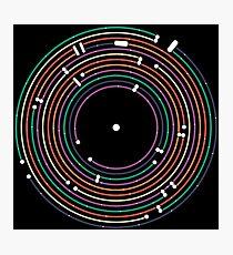 Cool colored vinyl record metro map dj music art Photographic Print