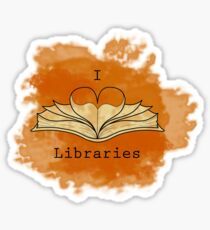 I Love Libraries (rust) Sticker