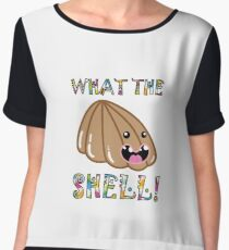 Cute Pets & Pugs T-Shirt: What the Shell! Funny Seashell Chiffon Top