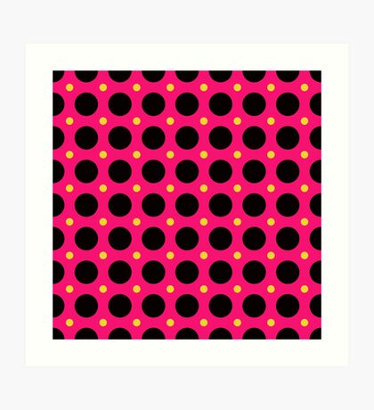 Pink and Black Polka  Dots  by Julie Everhart Art Print