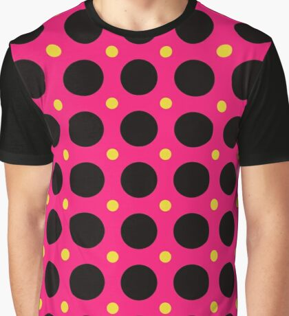 Pink and Black Polka  Dots  by Julie Everhart Graphic T-Shirt