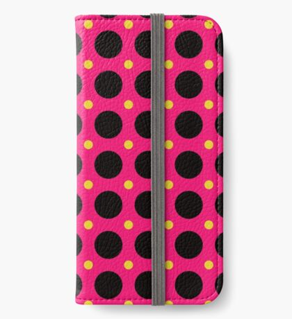 Pink and Black Polka  Dots  by Julie Everhart iPhone Wallet