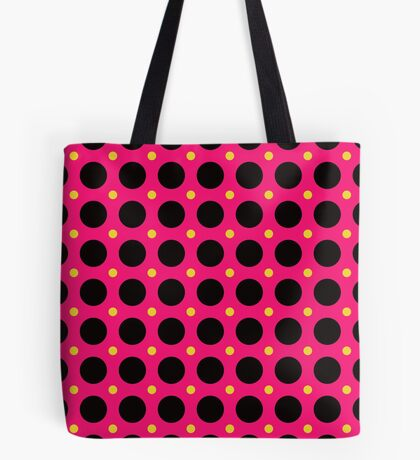 Pink and Black Polka  Dots  by Julie Everhart Tote Bag