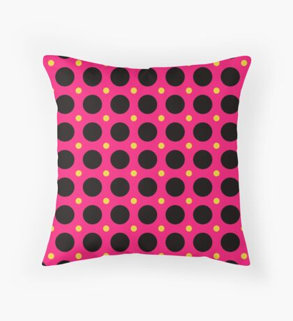 Pink and Black Polka  Dots  by Julie Everhart Throw Pillow