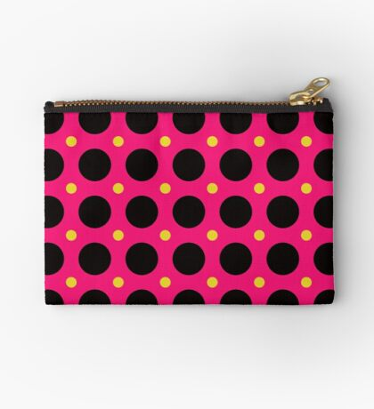 Pink and Black Polka  Dots  by Julie Everhart Zipper Pouch