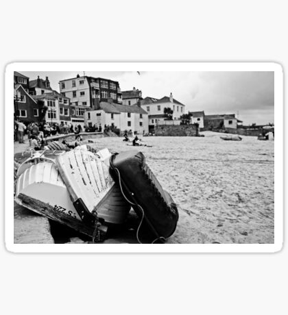 Low tide at St Ives (monochrome) Sticker