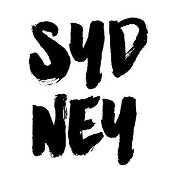 Sydney Print Wall Art,Black and White Art, Home Decor,Travel Poster, Australia Poster, Typographic Print, Monochrome Art by NathanMoore