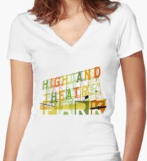 Highland Theater, Highland Park Los Angeles Women's Fitted V-Neck T-Shirt