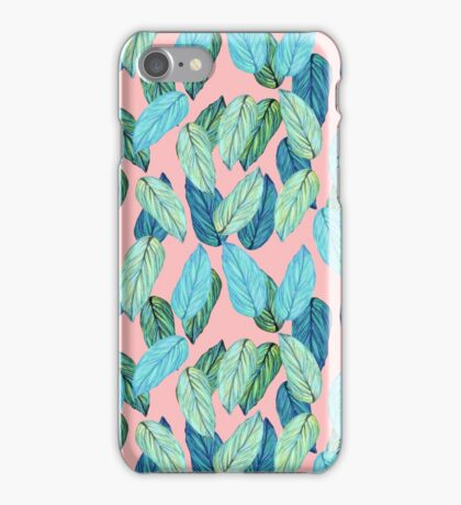 Tropical Leaves in Aqua and blue on coral iPhone Case/Skin