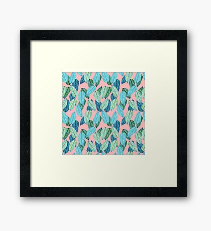 Tropical Leaves in Aqua and blue on coral Framed Print