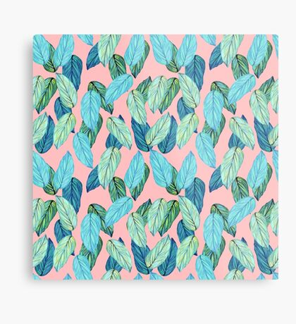 Tropical Leaves in Aqua and blue on coral Metal Print